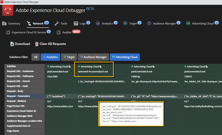 Auditing Analytics for Advertising Cloud JavaScript code in Experience Cloud Debugger