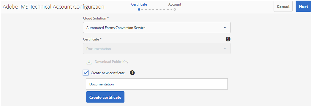 The Adobe IMS Technical Account Configuration page