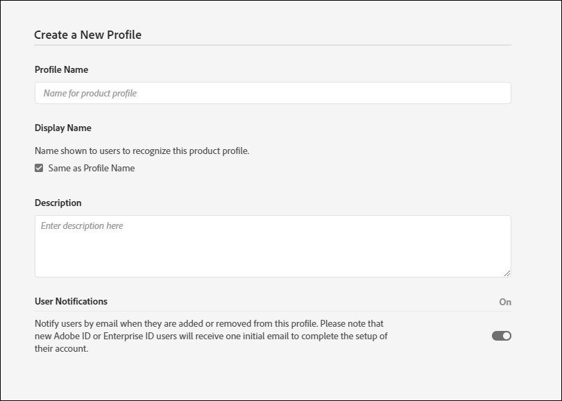 Specify details for the new profile.