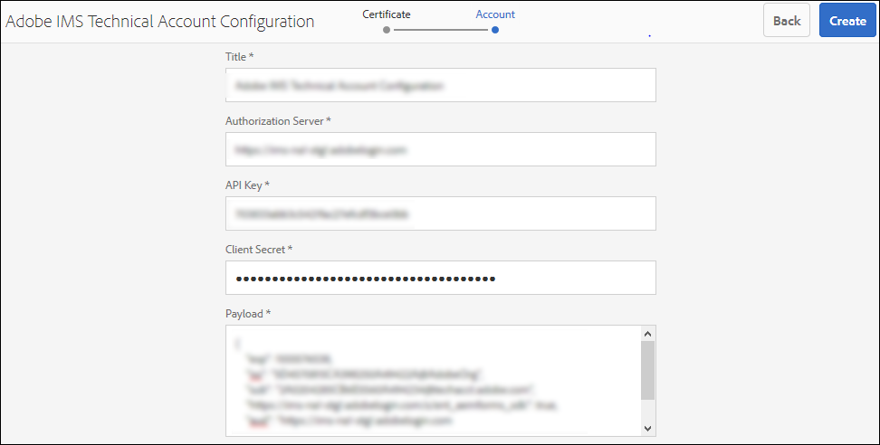 Specify Title, API Key, Client Secret, and payload