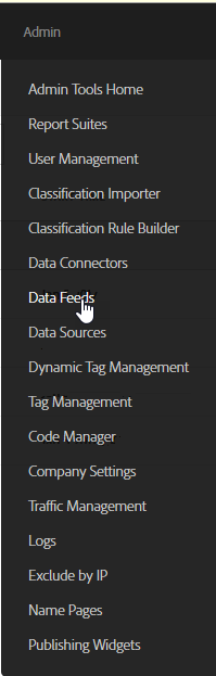 Data feed menu