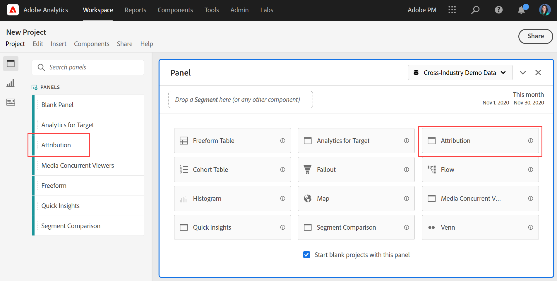 New attribution panel
