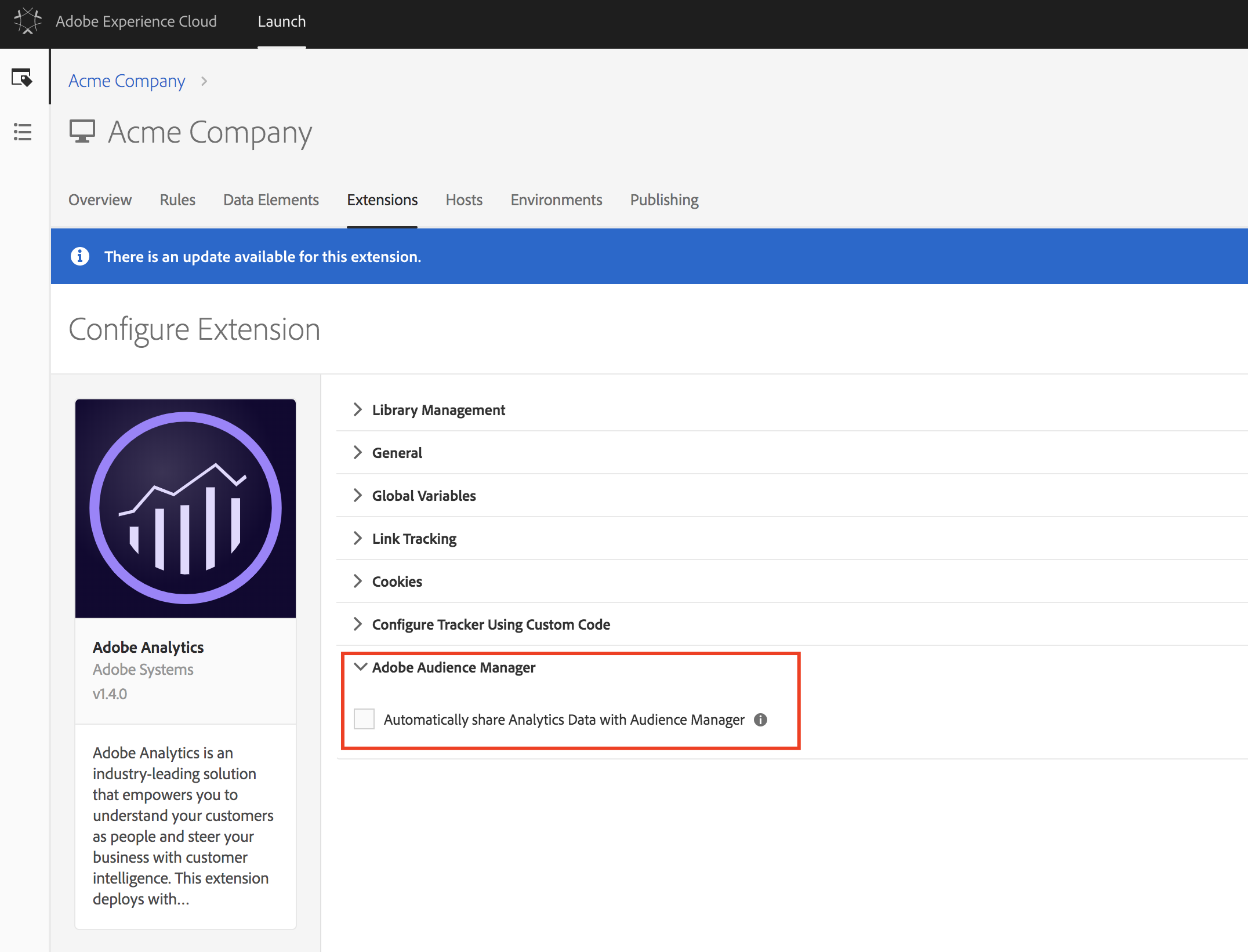 How to enable data sharing from the Adobe Analytics extension to Audience Manager