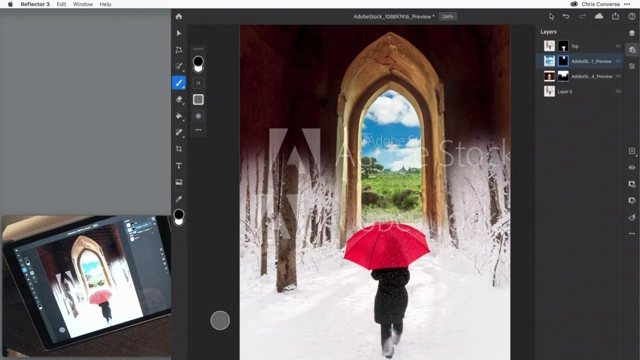 Create unique composites with Adobe Stock and Photoshop for iPad