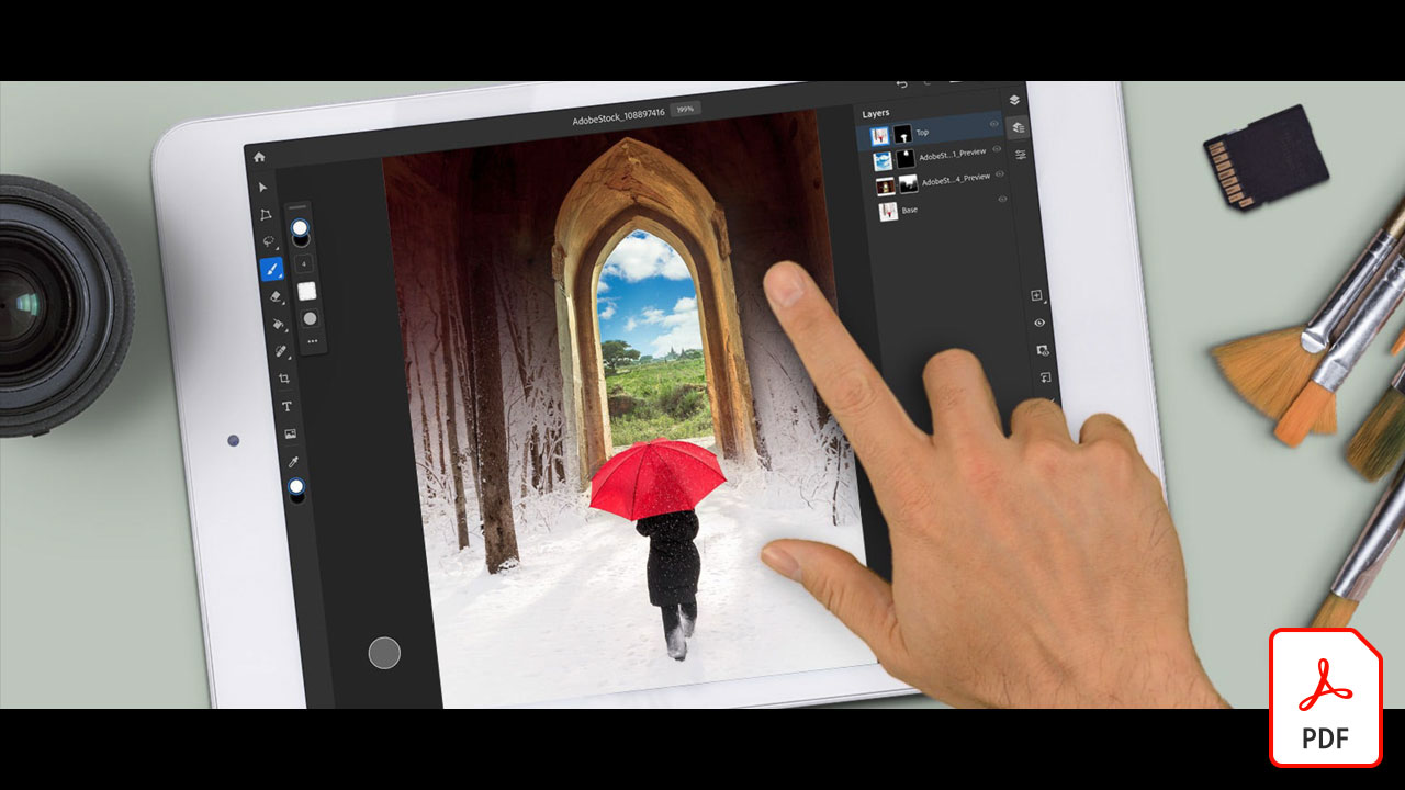 Create a composite with Photoshop on the iPad and Adobe Stock images