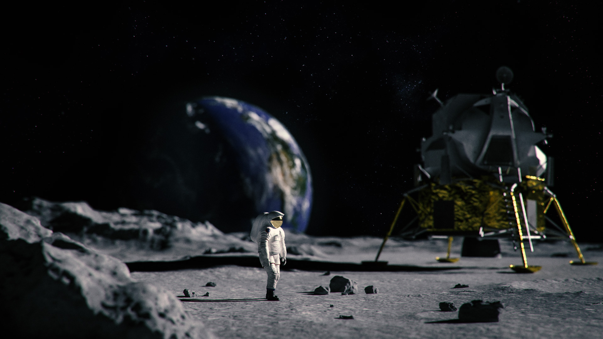 A 3D scene on the moon where the only source of lighting is sunlight