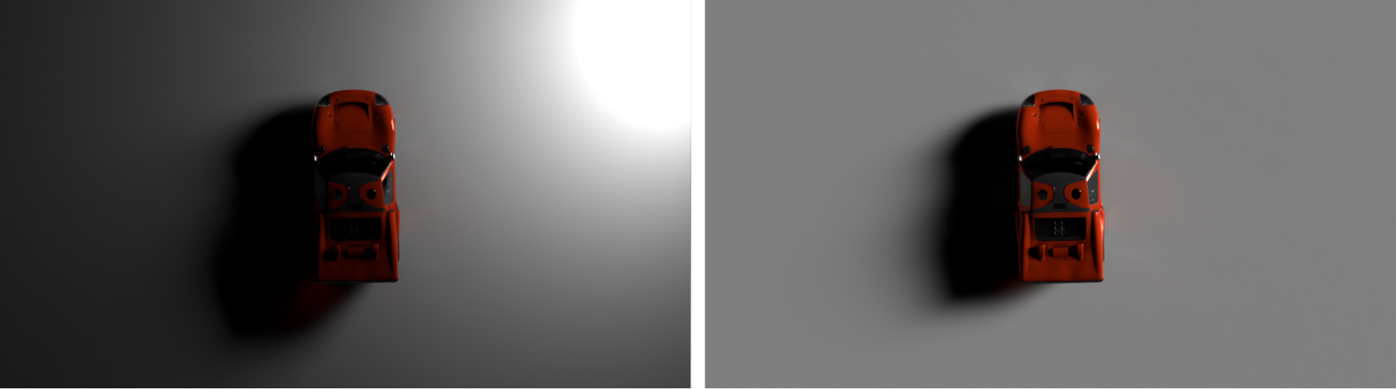Light source which has a falloff (a glowing plate) VS an infinite light source (a directional light)