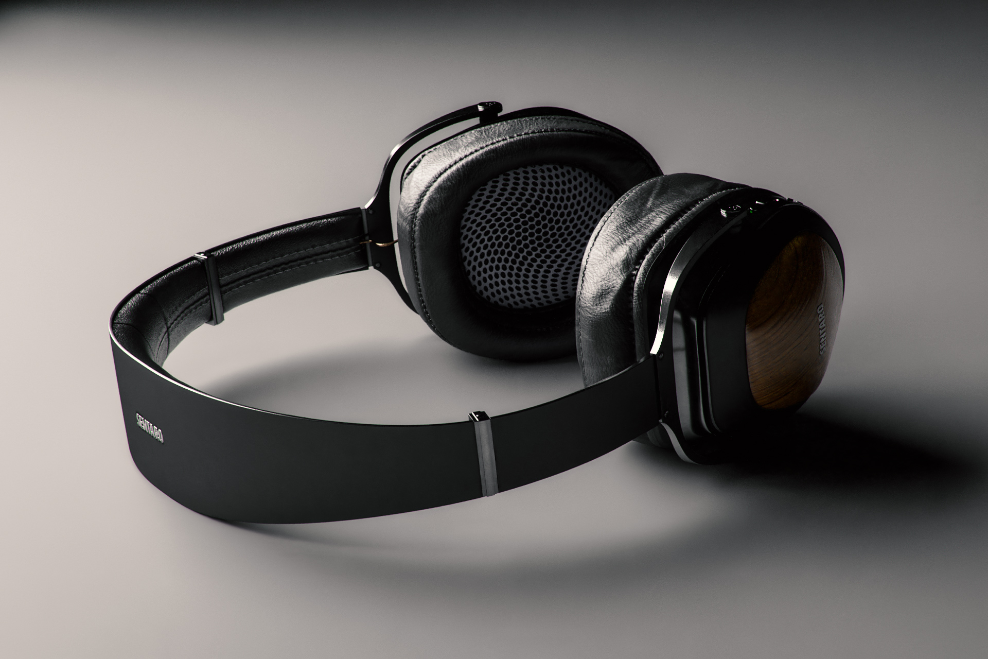Example of a rim light illuminating a 3d headphone model