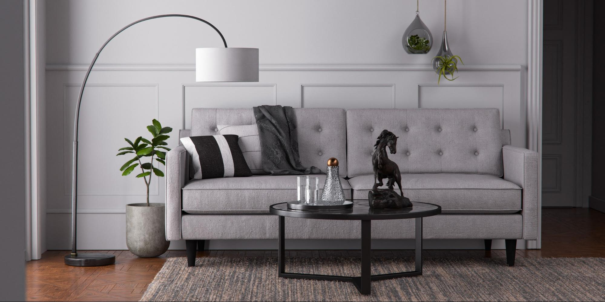 A 3D interior scene of a living room
