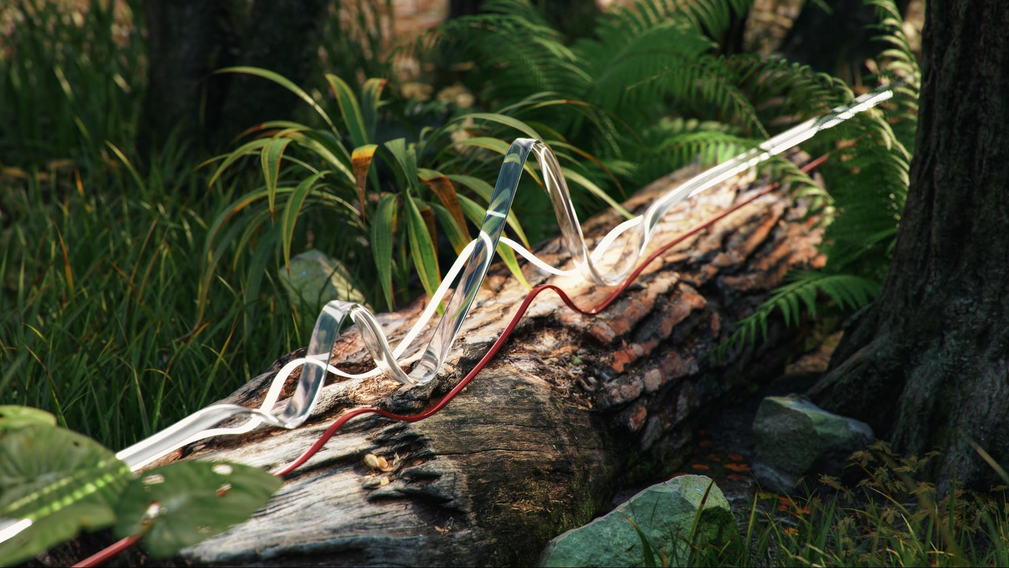 A scene of a tree stump on a forest floor, intertwined with CGI wires and ribbons illuminated with outdoor 3D lighting