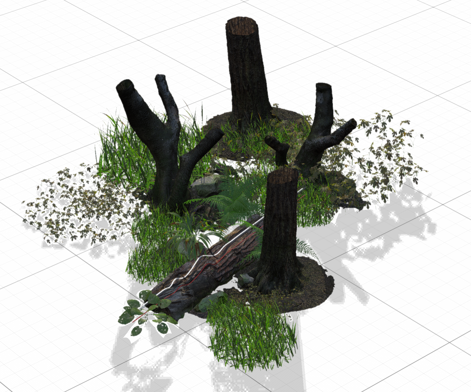 Objects in a 3D forest scene indicate how light will interact with the environment