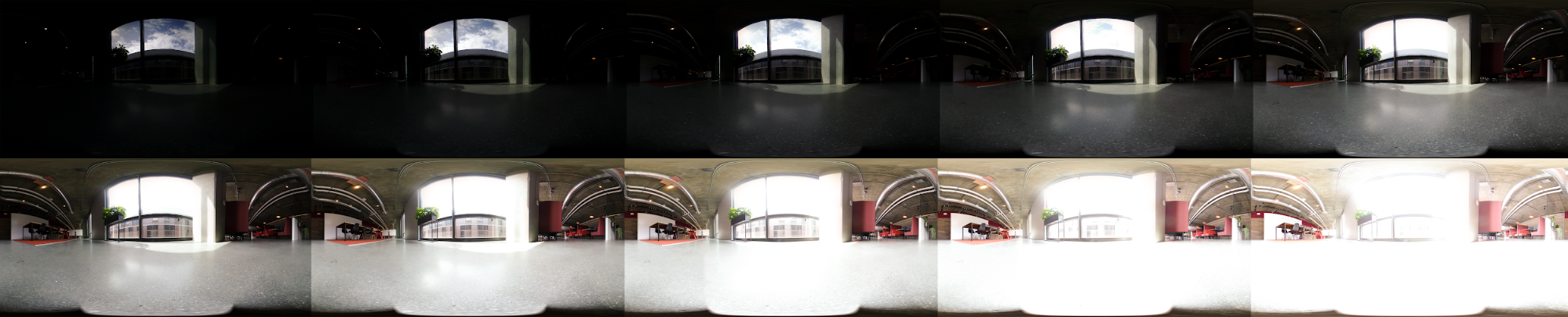 A series of bracketed exposure values from a 360 degree HDR panoramic of an office space