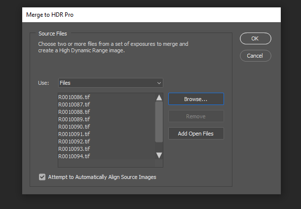 The Merge to HDR Pro file selection menu in Adobe Photoshop