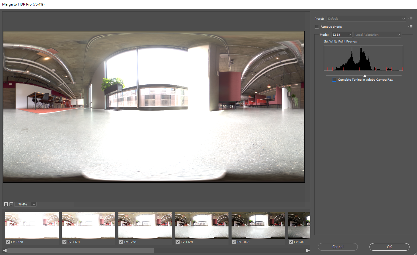 The Merge to HDR Pro preview screen in Adobe Photoshop