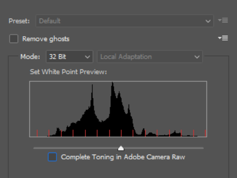 The Merge to HDR Pro configuration settings in Adobe Photoshop