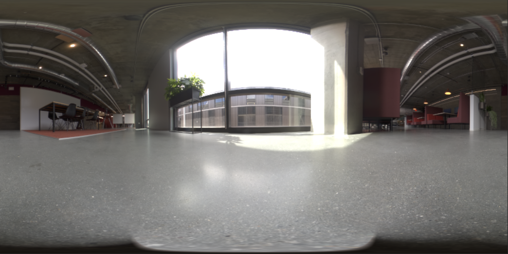 A 360 degree HDR panoramic of an office space with shadows visible at the nadir