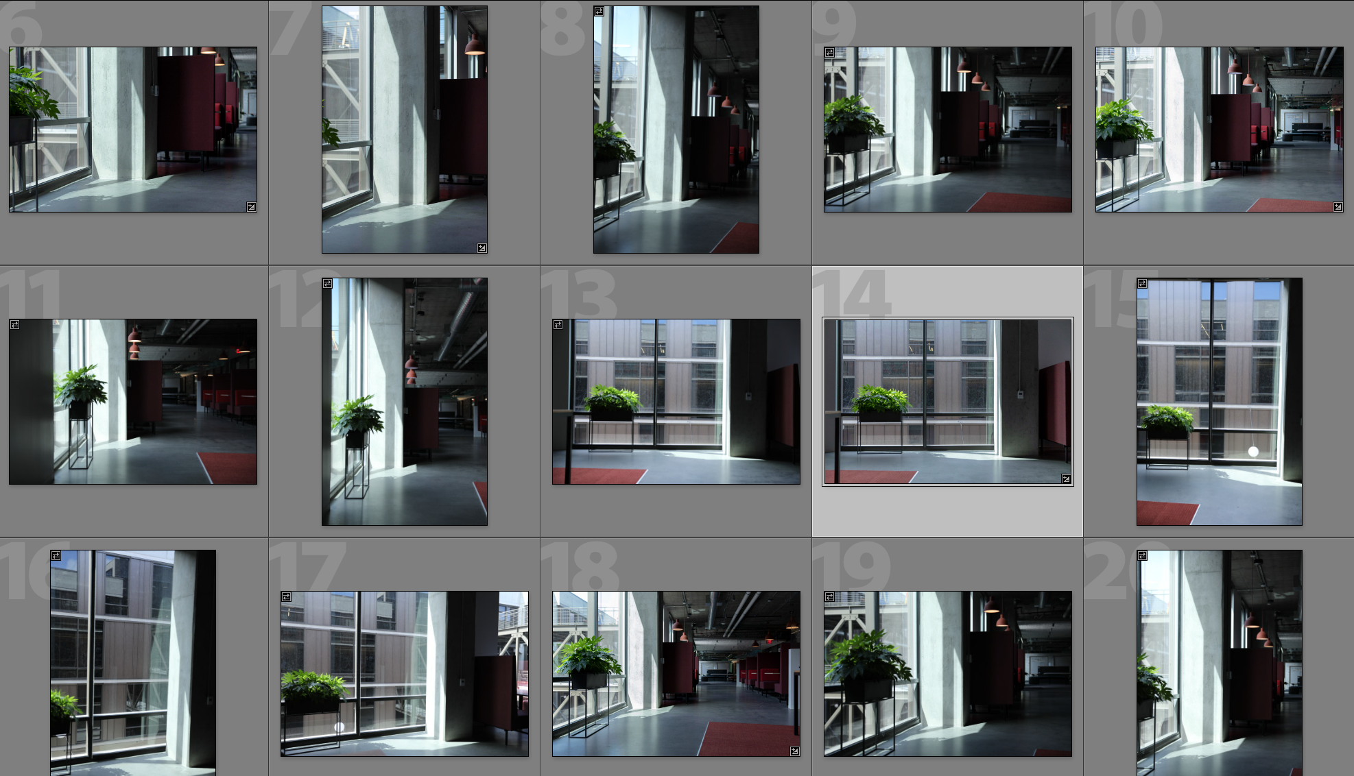 A series of background photographs captured for a 3D composite image