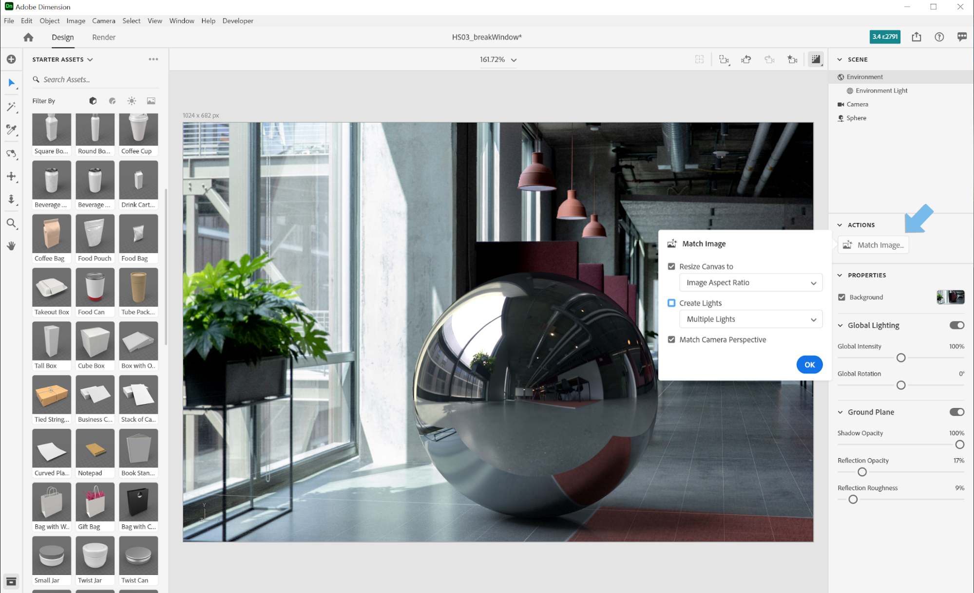 Using the Match Image feature in Adobe Dimension to render a 3D metal sphere image with the environment lights from an HDR panoramic