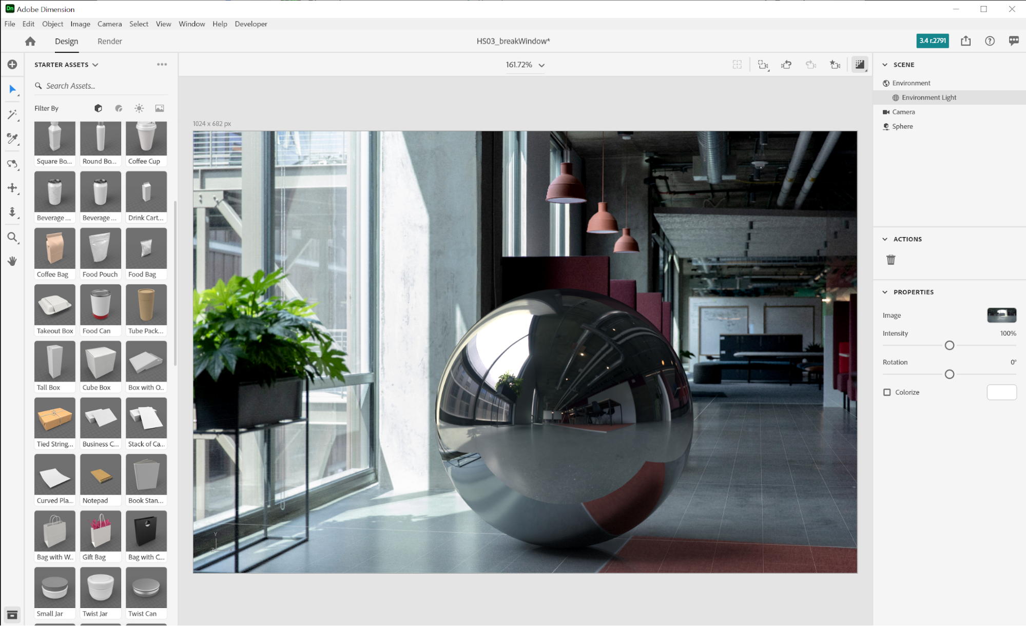 A photorealistic virtual photograph of a metal sphere is composited onto a background image of office space