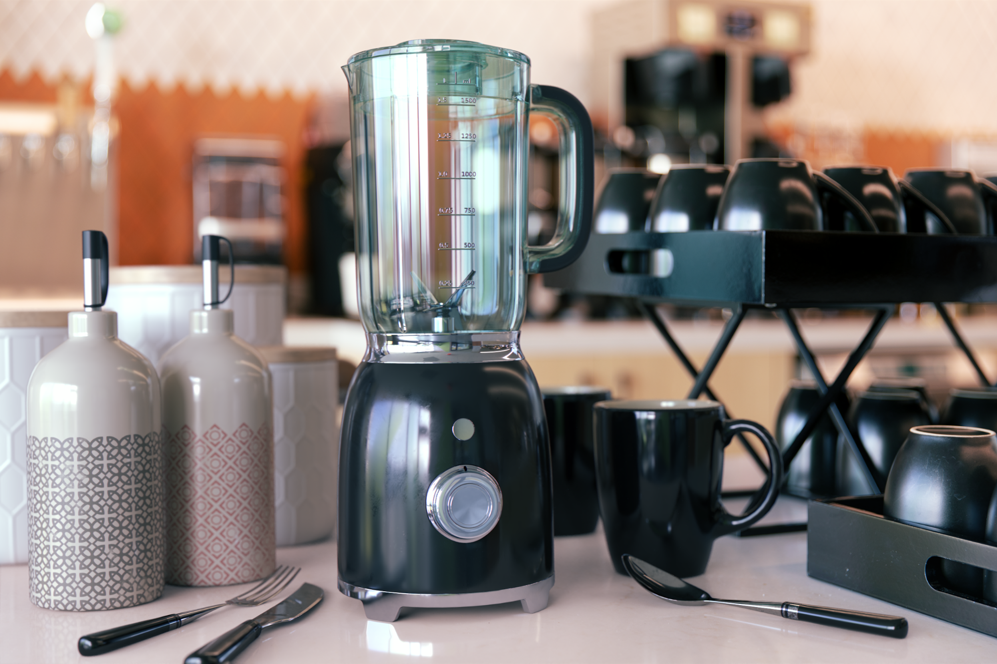 Photorealistic virtual photograph of 3D appliances composited into a kitchen counter top scene