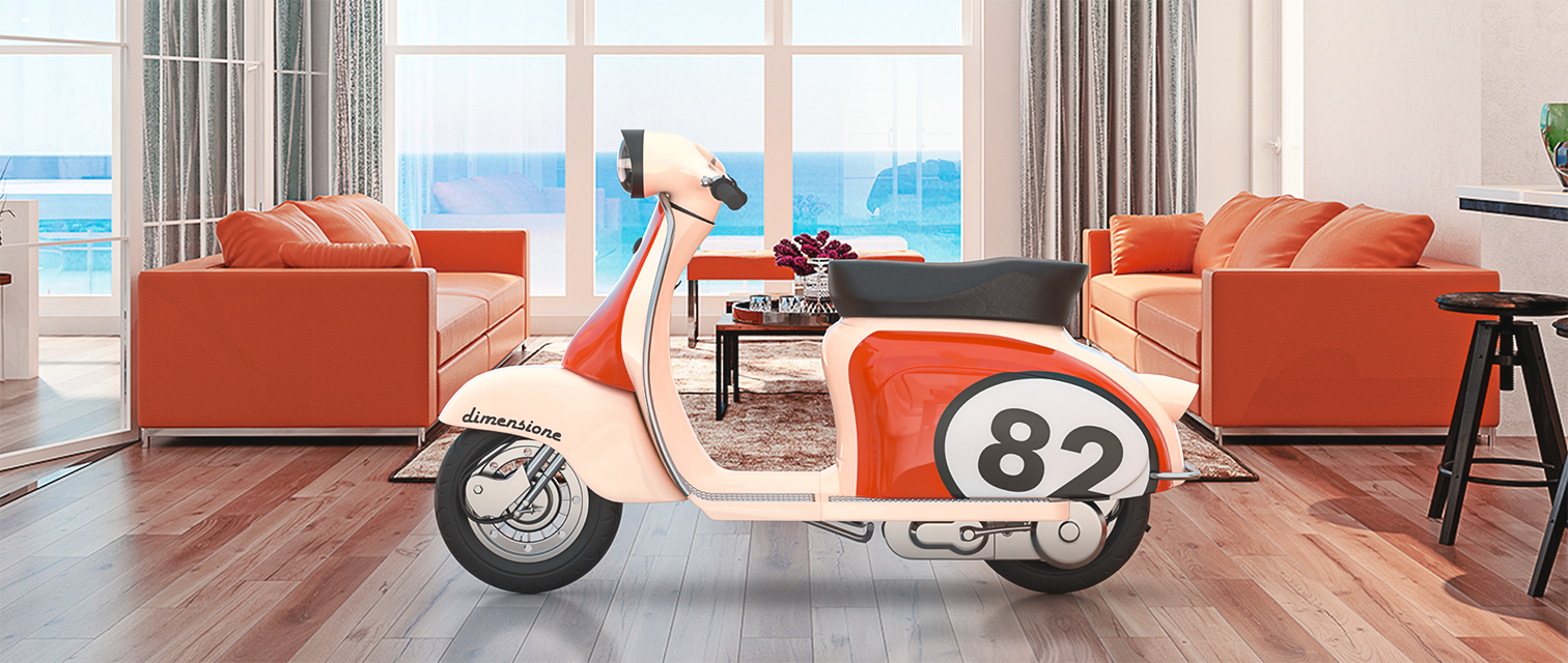 A photorealistic 3d composite image of a moped in a living room