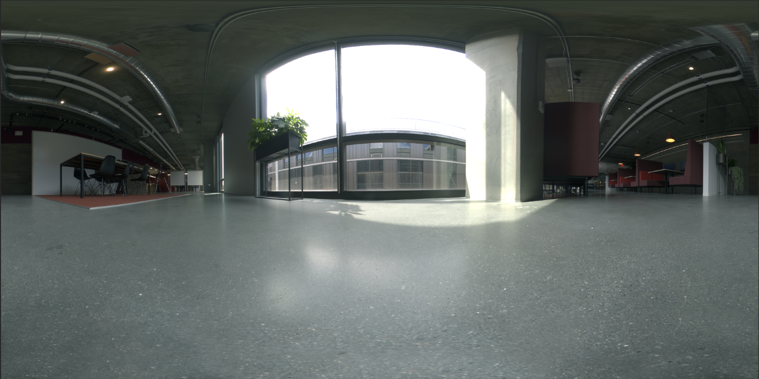 A 360 degree HDR panoramic of office space
