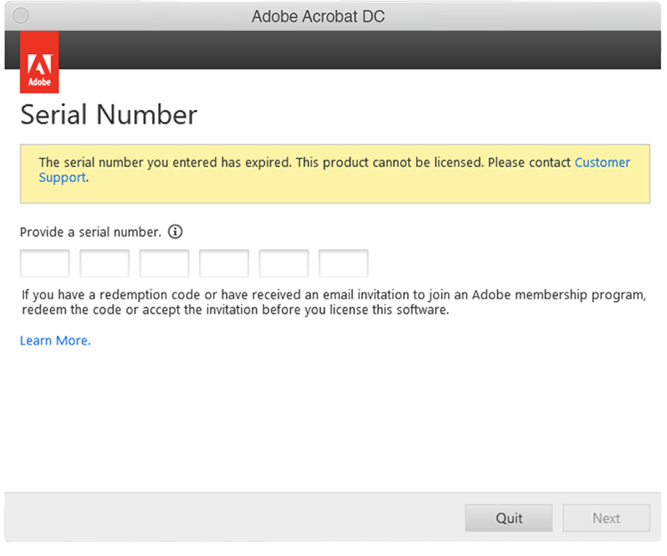 Acrobat after expiration message