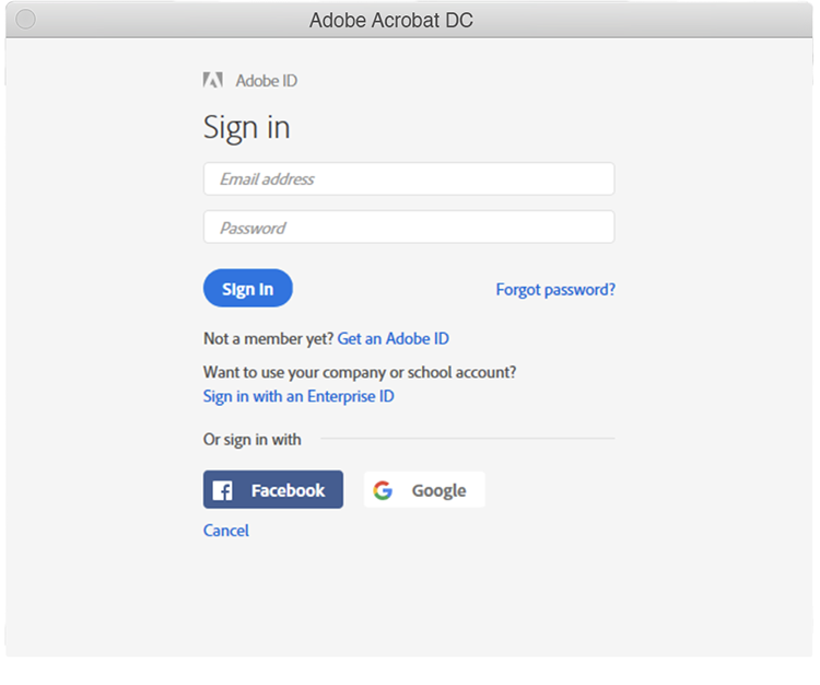 Acrobat Sign in dialog 2