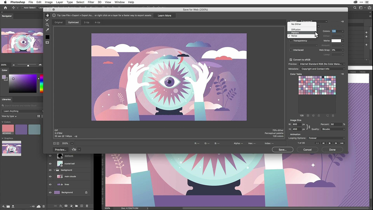 Animate an Adobe Stock vector illustration in Photoshop
