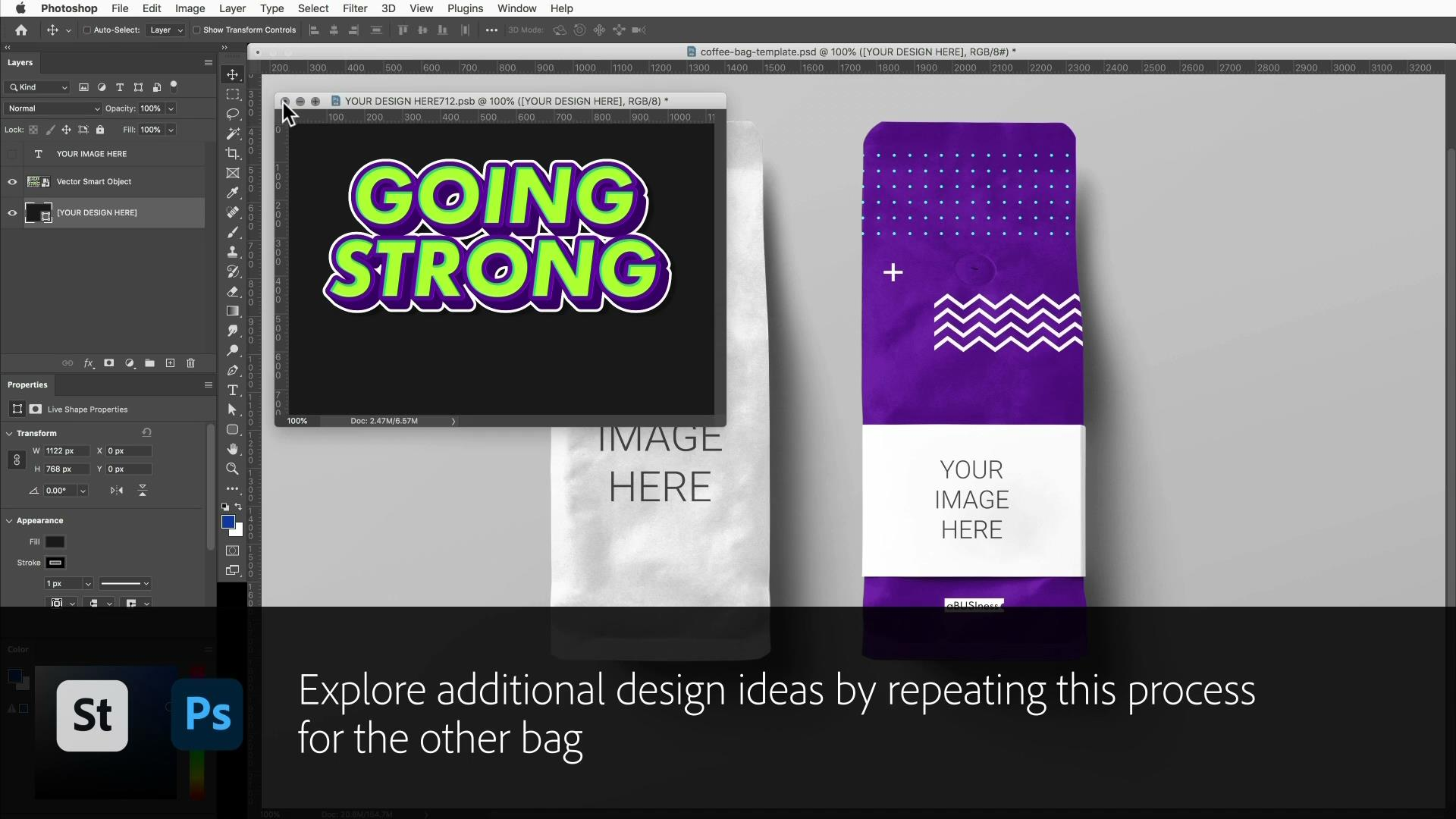 Create a bold label with Adobe Stock templates and Photoshop Smart Objects
