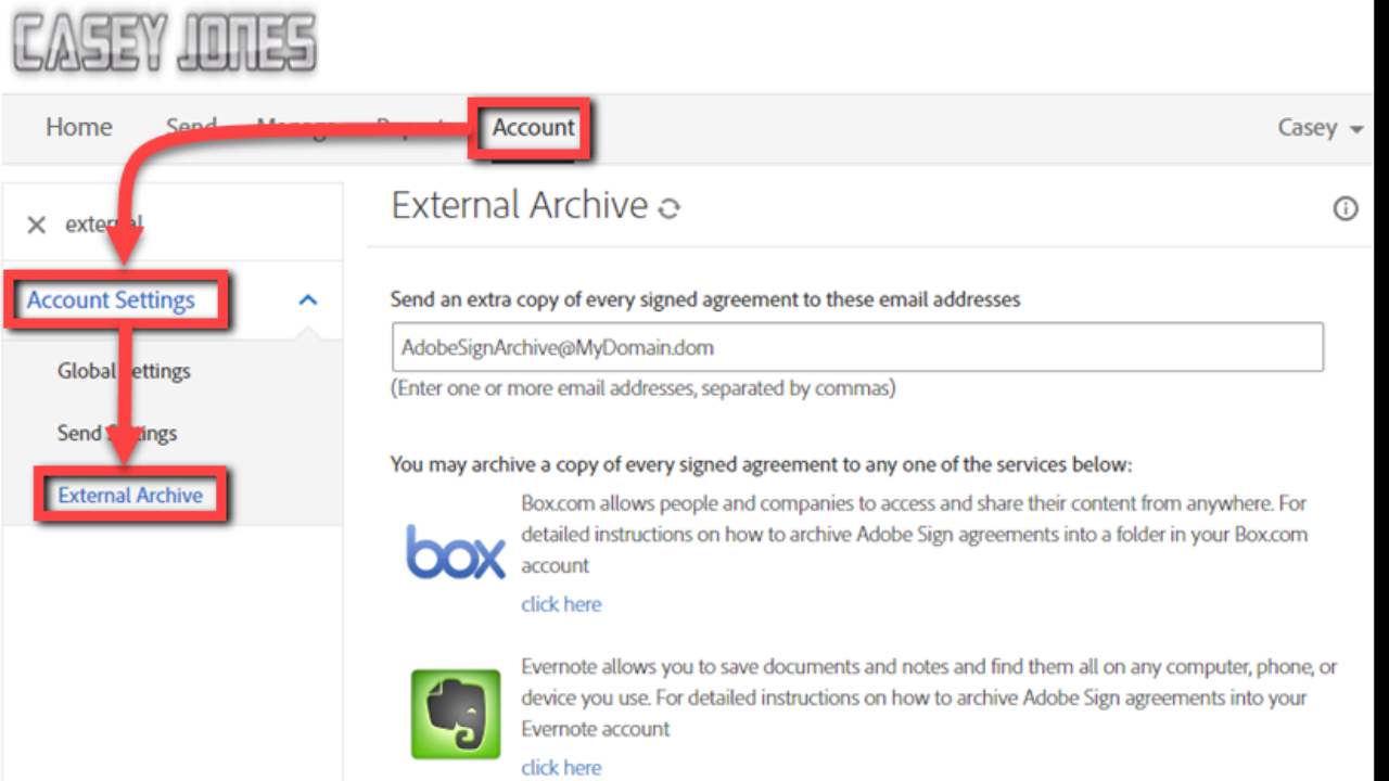 Setting up an External Archive