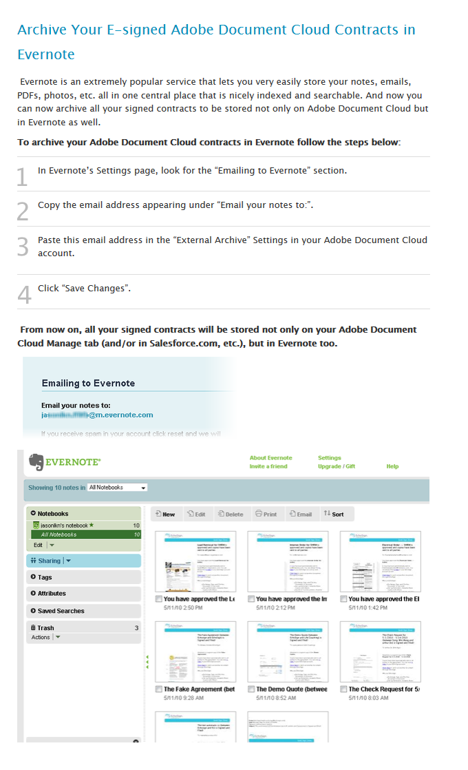 archive via Evernote