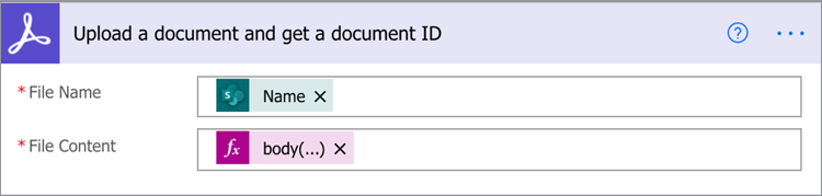 Screenshot of Upload a document and get a document ID screen