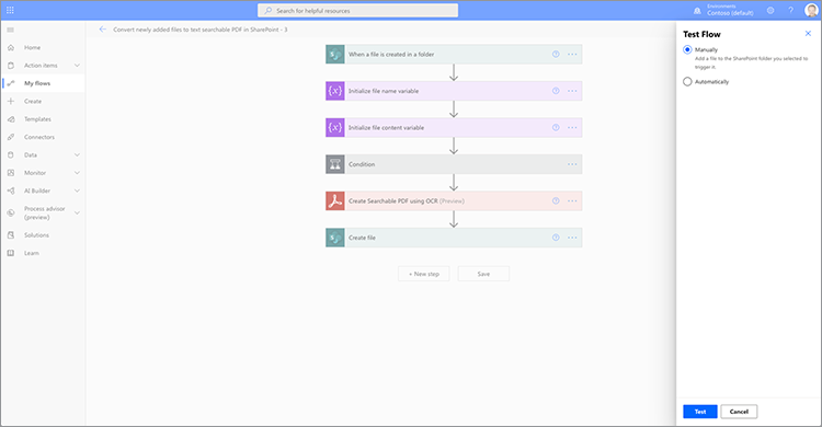 Screenshot of the Test flow