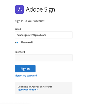 Screenshot of Adobe Sign sign in screen