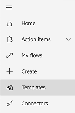 Screenshot of selecting Templates