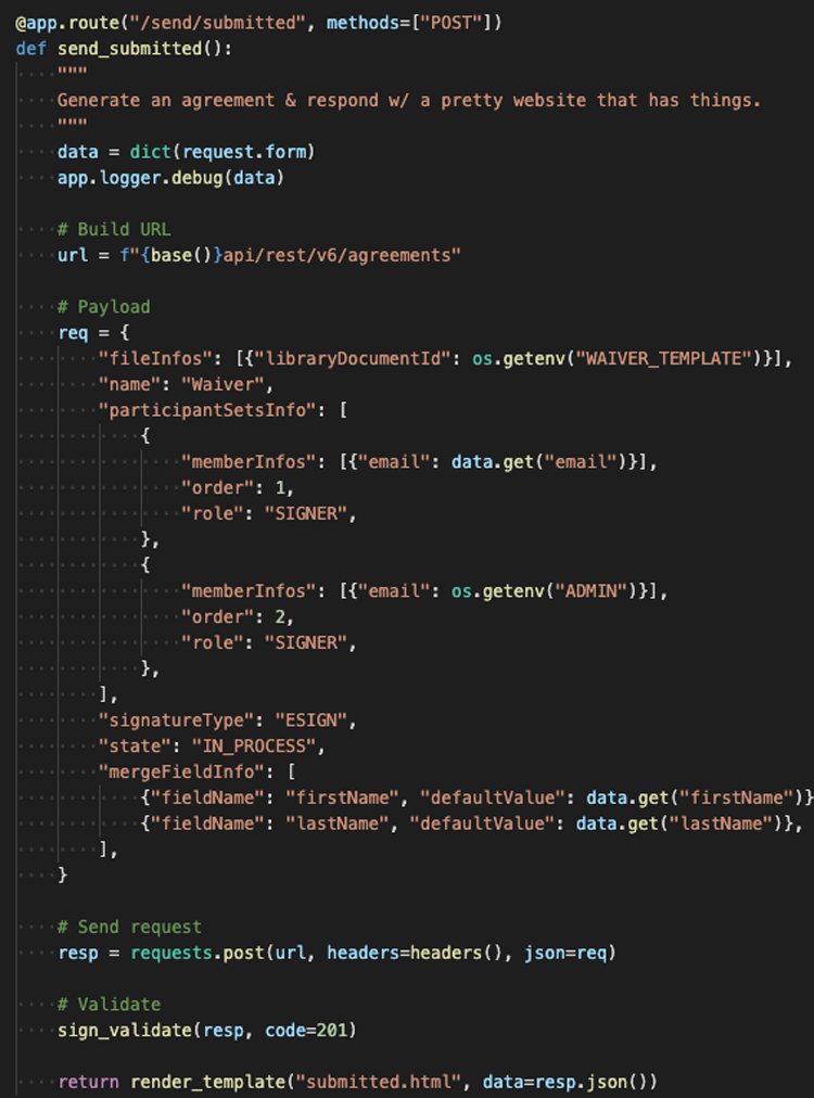 Screenshot of code to dynamically add signatures