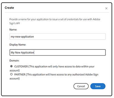 Image of where to enter application name and display name