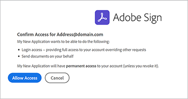 Image of confirm access screen
