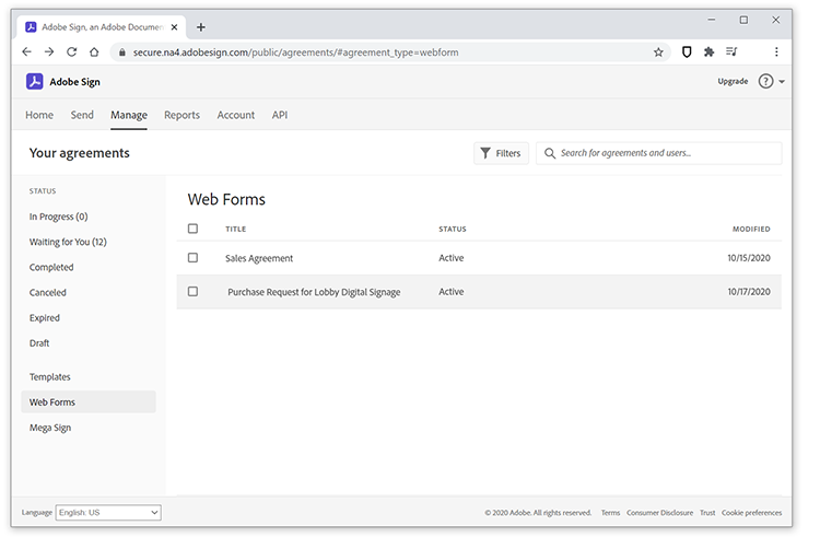 Image of Web Form in the Adobe Sign Manage screen