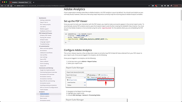 Screenshot of how to integrate with Google Analytics