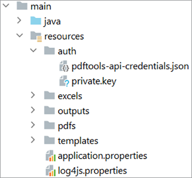 Screenshot of the directory location for PDF Tools API credentials