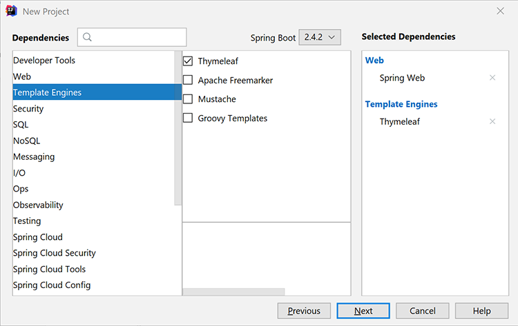 Screenshot to ad Spring Web and Thymeleaf