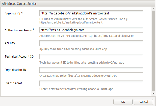 Experience Manager Smart Content Service dialog to provide content service URL