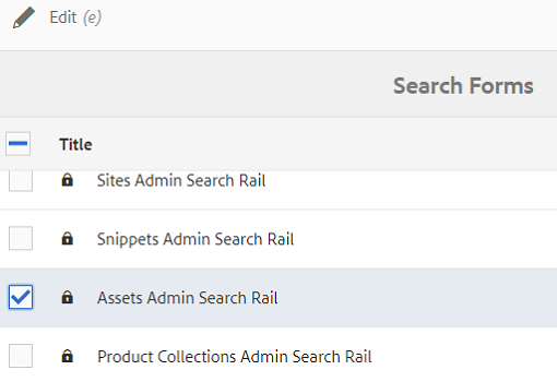 Locate and select the Assets Admin Search Rail