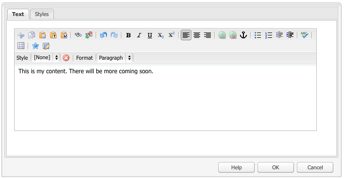 Dialog box in Classic UI that contains detailed toolbar for editing