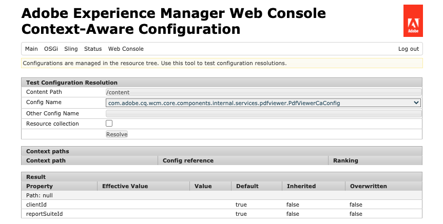 Context-Aware Configuration web console