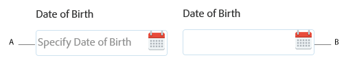 Date component with and without placeholder text