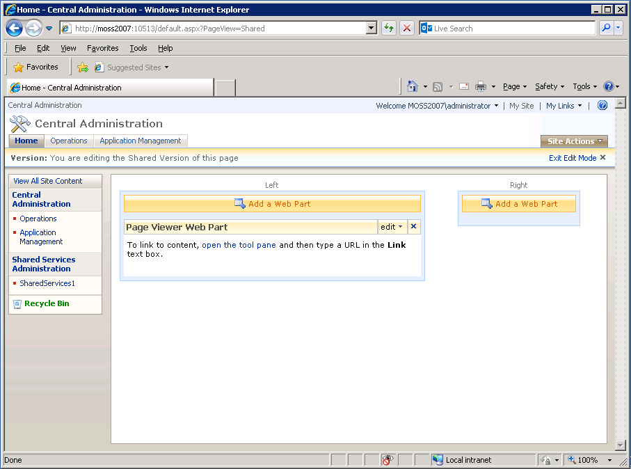 Page Viewer Web Part box in Microsoft Office SharePoint server.