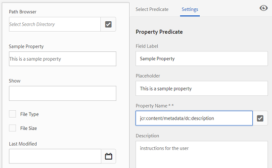 Associate a metadata property with a predicate in the Property Name field